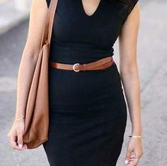 Top an LBD with a sporty brown belt.