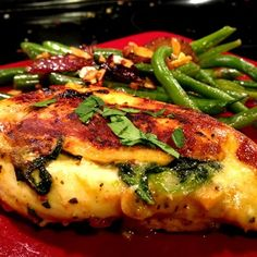 Spinach and Pepper-jack Stuffed Chicken Ingredients  5 small chicken breasts Maranade of choice (I like sun dried tomato garlic and basil) 9oz Fresh spinach 1 tbls coconut oil Sea salt and pepper to taste 1 cup Raw shredded pepper-jack cheese (you can also use Mozzarella instead)