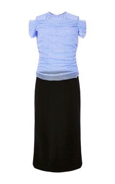 Milano Off The Shoulder Bicolor Dress by NINA RICCI Now Available on Moda Operandi