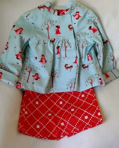 3T Girls 2 Piece Red Blue Light Jacket and Skirt by SewlFulThings, $50.00