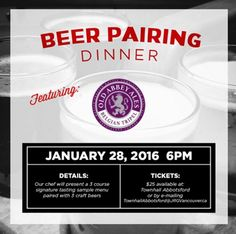 Townhall Abbotsford's Old Abbey Ales Craft Beer Pairing Dinner Seating is limited and coveted! Save yours by emailing: TownhallAbbotsford@JRGVancouver.ca