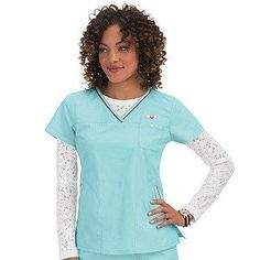 Women\'s Ashley Crossover V-Neck Solid Scrub Top - Ice Blue