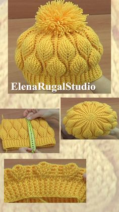 In this tutorial we have learn how to crochet beanie hat with leaves for your child. And we sewed the pompom to the hat. The width of the hat is 24 – 25 c. Crochet Beret Pattern, Bonnet Crochet, Crochet Beanie Hat, Beanie Hats, Knitting Patterns, Crochet Patterns, Crochet Hats, Slip Stitch Crochet, Crochet Diy