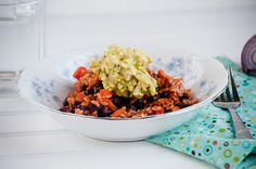 Rice and Beans with Guacamole - super easy and delicious #WeekdaySupper