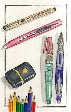 Watercolor journal sketching tools art journal time in 2019 Sketchbook Inspiration, Art Sketchbook, Watercolor Journal, Watercolor Paintings, Drawing Sketches, Art Drawings, Drawing Tools, Illustrations, Illustration Art