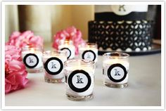 Monogram Wedding Votives Warm up your table décor with these classy monogrammed candles. Use scrapbook paper, ribbon and cool buttons to create this simple project for your reception. Diy Your Wedding, Perfect Wedding, Dream Wedding, Party Planning, Wedding Planning, Homemade Wedding Favors, Wedding Favours, Monogram Wedding, Damask Wedding