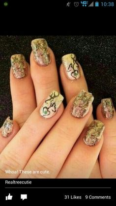 Camo Nails with browning logo for the country girls Camouflage Nails, Camo Nails, Deer Nails, Manicure E Pedicure, Mani Pedi, Country Nails, Brown Nails, Halloween Nail Art, Redneck Girl
