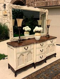 Cream French Provincial Dresser. Also would make a great kitchen island ;) ♡