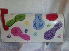 Flip Flops Hand Painted Mailbox by TheGardenPot999 on Etsy