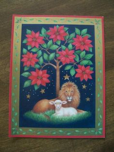 Poinsettia Tree Lion and Lamb Christmas Card