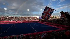A general view of the women's Hockey preliminary match between Belgium and Great Britain on Day 6 of the London 2012 Olympic Games at Riverbank Arena.