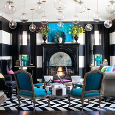 Jeff Andrews Design | Calabasas, CA | Kourtney Kardashian | Kardashian Home | Amazing Decor | Interior Design | Pop of Color | Black and White | Love This Space | Turquoise | Jeff Andrews | Chevron | Glass Pendant Lights | Striped Walls | Yes Please
