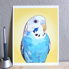 Parakeet art print - perfect gift for bird lovers  and Budgie owners!