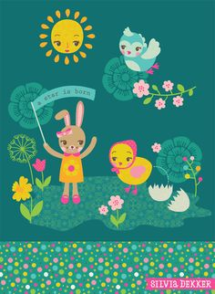 A star is born. Spring illustration by Silvia Dekker. (Easter bunny, chick, baby bird, sun.)