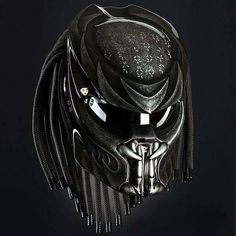 Predator masks made of high quality Fiberglass. - Visors have sliding buttons to open and close the visor. S = 55 - 56 Cm. Motorcycle Events, Motorcycle Style, Motorcycle Helmets, Predator Helmet, Predator Alien, Helmet Accessories, Airsoft Mask, Custom Helmets, Jack Black