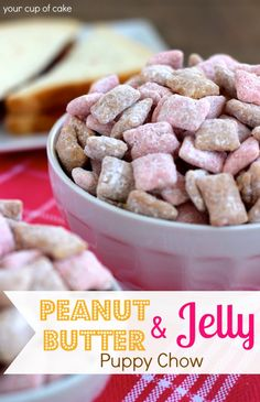 Peanut butter and jelly puppy chow. NOTES from Erika: I wasn't a fan of this puppy chow. It was very sweet and there wasn't much peanut butter flavor. Puppy Chow Snack, Puppy Chow Recipes, Snack Mix Recipes, Snack Mixes, Recipe Puppy, Chex Recipes, Candy Recipes, Köstliche Desserts, Sweets