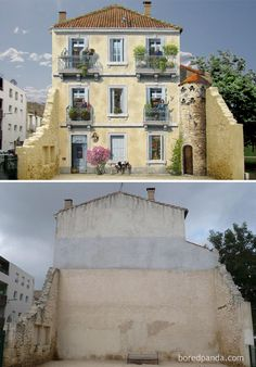 """Juliette Et Les Esprits,"" Montpellier, France Before and After picture of the mural"