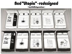 """Akisima Sims Blog: Bed """"Utopia"""" – redesigned • Sims 4 Downloads"""