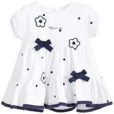 iDo Baby Girls White & Navy Blue Floral Dress at Childrensalon.com