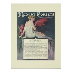 """Art Deco Advertising Poster - Corsets   Stunningly beautiful Art Deco advertisement for Modart Corsets that are """"always front laced""""..."""