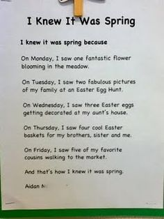 "writing activity Use for "" I knew it was summer On Monday,  Tuesday..."
