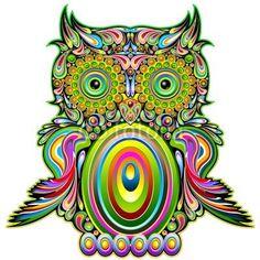 #Owl #Psychedelic #Pop #Art #Design-#Vector © bluedarkat #47799468     http://us.fotolia.com/id/47799468/partner/200929677