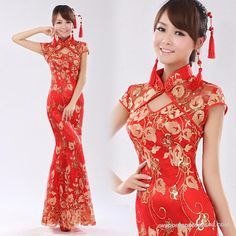 Lace Fishtail Slim Improved Cheongsam IWD0532_1 (like the hair piece and earrings)