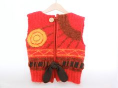 8-10yrs Red Waistcoat in felted Mohair by cobbledtogether on Etsy, $60.00