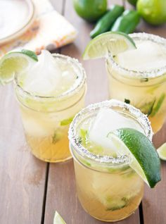 cinco mason jar cocktails for your 5 de mayo party: Cucumber Jalapeño Margarita. A twist on the classic margarita, this deliciousness mixes hot and spicy jalapeños with cooling cucumbers for an AMAZING experience. Get the recipe VIA  @ahappyfooddance