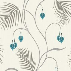Teal and white moriko wallpaper for chimney breast
