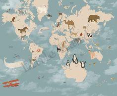 Decoro :: Cameretta :: Carte da Parati :: Murale Carta da Parati World Map
