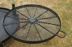 Cookie's Wagon Wheel BBQ | Etsy Fire Pit Cooking Grill, Fire Pit Grill, Fire Pit Backyard, Cooking On The Grill, Bbq Grill, Rim Fire Pit, Wheel Fire Pit, Steel Fire Pit Ring, Fire Ring