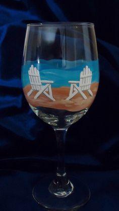 Painted wine glass,10 oz, Beach Chairs Wine Glass, Hand painted wine glass,Beach wine glass,Wine glass,Beach chairs,Beach, Custom wine glass. $18.00