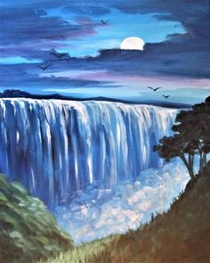 Moonrise Over Waterfalls at Madsen Family Cellars (Winery) - Paint Nite Events near Lacey, WA> Waterfall Drawing, Waterfall Paintings, Easy Canvas Painting, Canvas Art, Landscape Art, Landscape Paintings, Foto Picture, Pastel Art, Watercolor Paintings