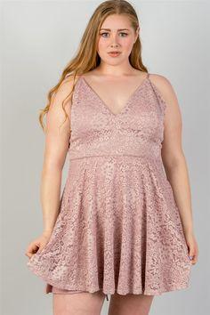53d2190522c Floral lace mini dress with criss-cross back. Plus Size ...