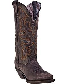 Laredo Women's Access Western Boot, Black/Tan, 8 M US -- Read more reviews of the product by visiting the link on the image.