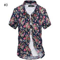 84f66a8f5d3 Summer Men`s Floral Shirt Short Sleeve Multi-colors Hawaiian Hawaii Slim  Fit Shirts