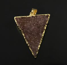 Dazzling Druzy Triangle Pendant in Stunning Earth Tones, Heavy Gold Plated, 25x31mm, A+ Gorgeous Quality, Electroplated Edge (DZY/TRI/140) by Beadspoint on Etsy