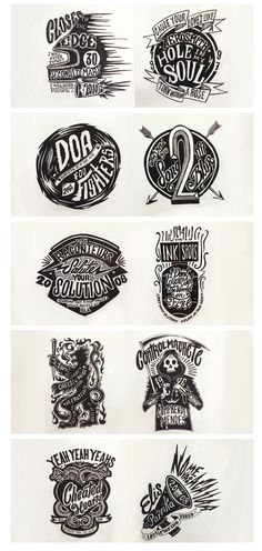 type design illustration badges