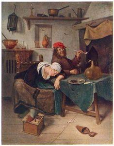 """Ян Стен. «Гуляки» Steen Jan.  1660. Эрмитаж, Санкт-Петербург.      Картина голландского художника-жанриста  Яна Стена также известна под названиями «Выпивохи» или «Пьяницы», которые были даны картине при её продаже на художественных аукционах в Голландии в 17 и 18 столетиях. В этой ироничной картине """"Гуляки"""" Ян Стен изобразил самого себя и свою жену Маргрит"""