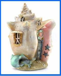 Miniature Fairy Garden Conch Condo Shell House - Fairy Garden Fun #minijardines