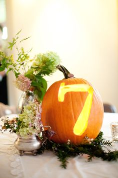 jack-o-lantern table numbers // photo by ThreePhotographers.com
