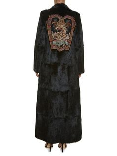Long-sleeved embroidered-appliqué fur coat | Etro | MATCHESFASHION.COM US