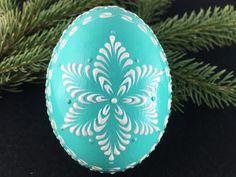 Duck Egg Ornament Wax Embossed Pysanka Polish Drop by EggstrArt
