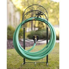 The Dragon Fly Steel Hose Reel from Liberty garden products offers an attractive, decorative stand that will look great on your lawn. This stand will hold your hose neatly and out of the way until you need it. Features include 5 anchor points to secure this stand neatly in place, and a brass faucet/bib. It is made of heavy gauge steel that is powder coated for durable weather resistant use.
