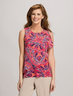 The colors in this paisley top are to die for!!!  Looks great with denim or white capris!  dressbarn