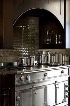 Gorgeous backsplash, Perrin Rowe pot-filler, and La Cornue nickel and stainless steel range. Kitchen Stove, Kitchen And Bath, Kitchen Dining, Kitchen Decor, La Cornue, Paris Home, Cocinas Kitchen, Beautiful Kitchens, Kitchen Interior