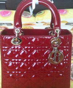 Dior Crimson Red Patent Lady Dior Bag  0dc2a31756431