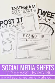 "Social media sheets as exit tickets are perfect for the classroom! Students love displaying their learning this way ""This could be a bigger project, or it could be a quick one to assess student comprehension about the novel. Teaching Strategies, Teaching Tips, Teaching Reading, Writing Strategies, Teaching Themes, Writing Lessons, Teaching History, School Classroom, Classroom Activities"