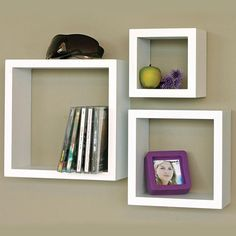 "Nexxt Cubbi Wood Cube Wall Shelf Set/3 5"" / 7"" / 9"" Sq. White 